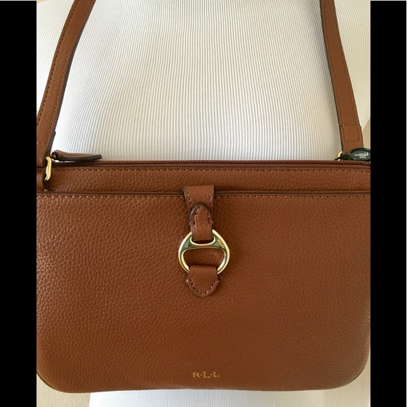 0f1277e51adb Ralph Lauren cross body leather bag rust brown new